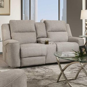 Casual Dual Power Reclining Console Loveseat with USB Port
