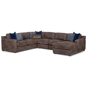 Contemporary Five Piece Sectional with Chaise