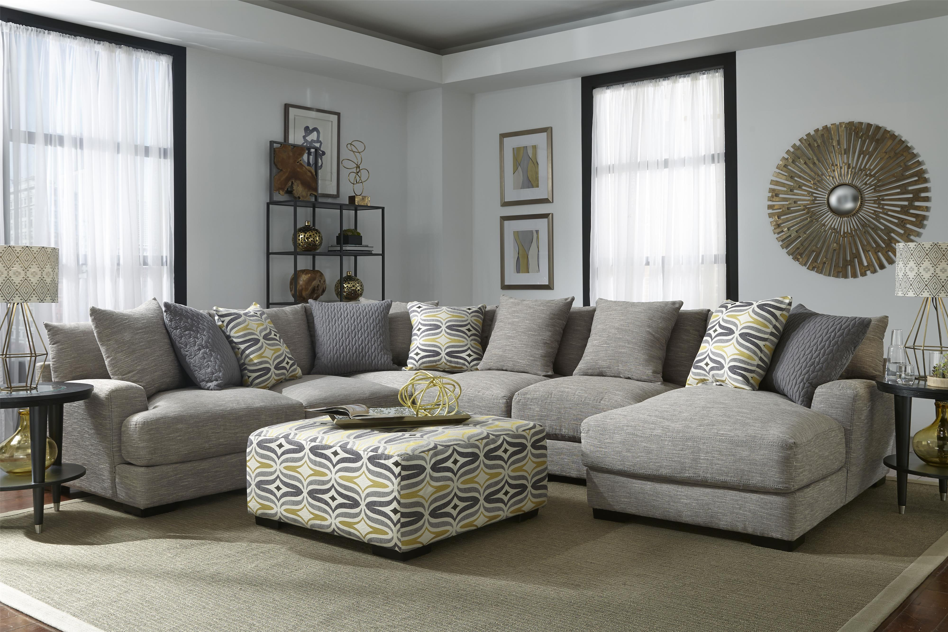 Barton Sectional Sofa with 5 Seats and Chaise by Franklin at Van Hill Furniture
