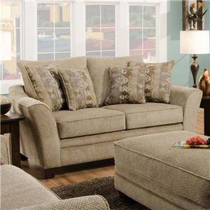 Upholstered Loveseat with Flared Arms