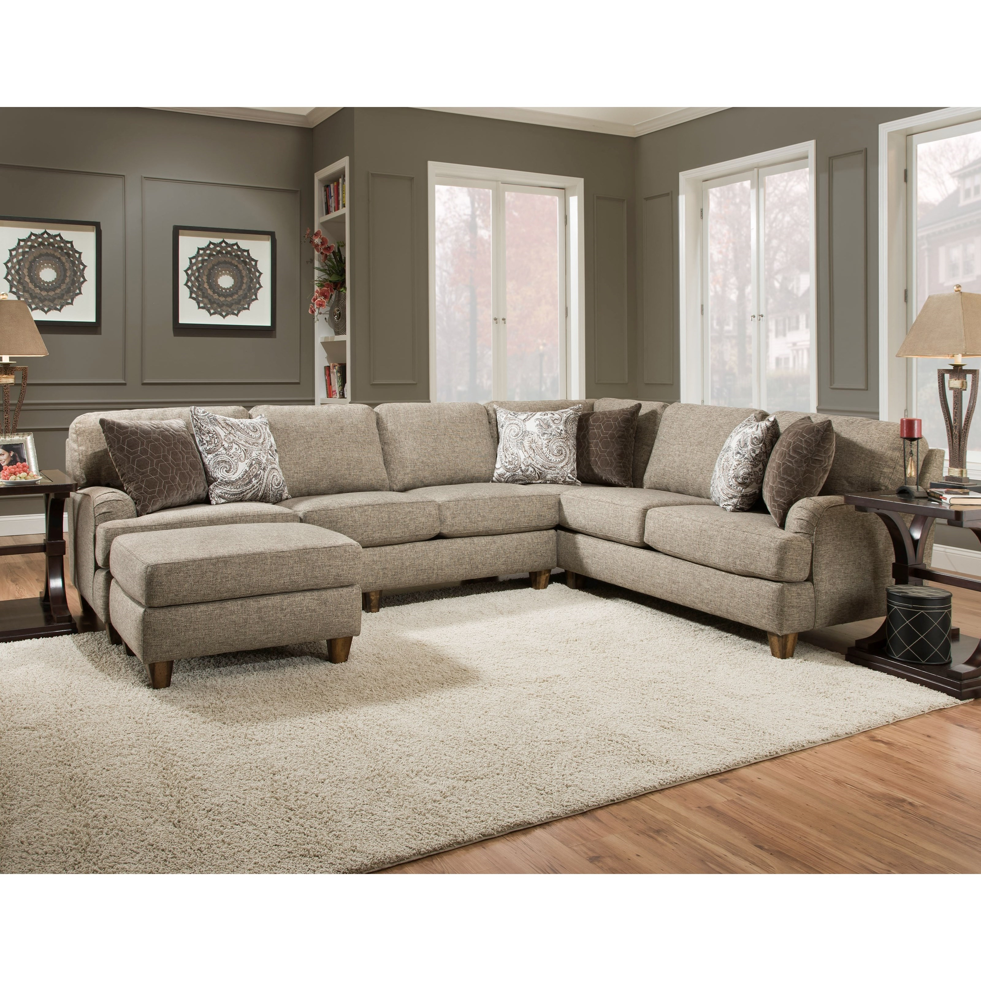 Brannon Sectional Sofa with 5 Seats by Franklin at Wilcox Furniture