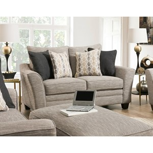 Upholstered Loveseat with Flared Track Arms