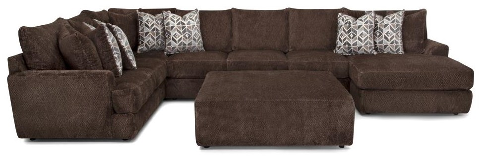 945 Sectional Three Piece Chocolate Chaise Sectional by Franklin at Furniture Fair - North Carolina