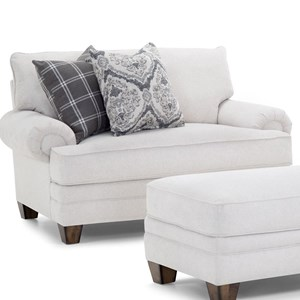Transitional Chair and a Half with Rolled Arms
