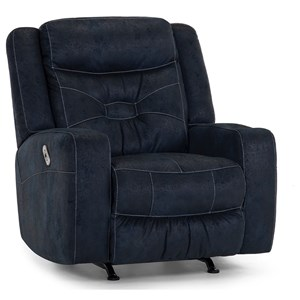 Casual Dual Power Rocker Recliner with Cupholder