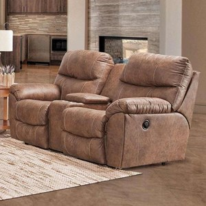 Casual Manual Reclining Console Loveseat