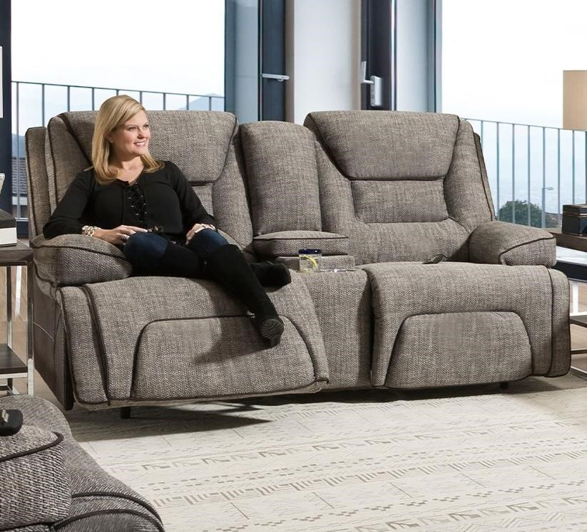 Centennial Power Reclining Console Loveseat by Franklin at Wilcox Furniture