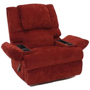 Rocker Recliner with Lumbar and Seat Massage and Frosty Fridge