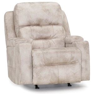 Casual Triple Power Rocker Recliner with Lights and Cup Holders