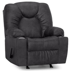 Casual Rocker Recliner with USB Port and Cup Holders