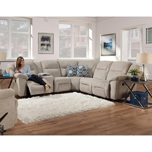 Casual L-Shaped Reclining Sectional with Console