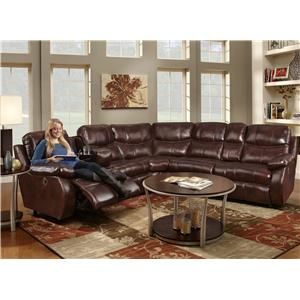 Reclining Sectional Sofa with 2 Recline Seats and Cup-Holders