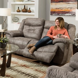 Casual Power Rocking Reclining Loveseat with Power Headrests and USB Charging Ports