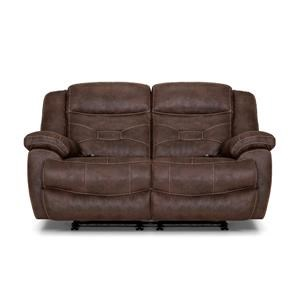 Brown Power Reclining Loveseat with Power HeadRest & Lumbar