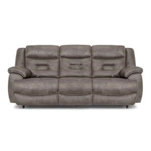 Grey Power Reclining Sofa with Power HeadRest & Lumbar