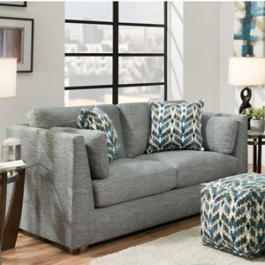 Contemporary Loveseat with High Track Arms