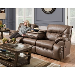Casual Reclining Sofa with Drop Down Table