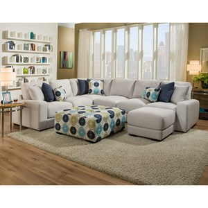 Sectional Sofa with PushUp Ottoman