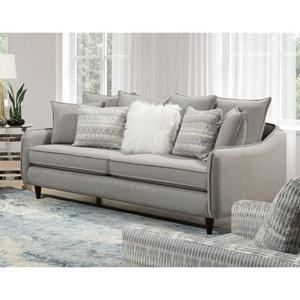 Mid-Century Modern Sofa with Exposed Wood Legs