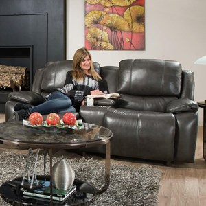 Power Reclining Loveseat with Power Backrest in Leather Match
