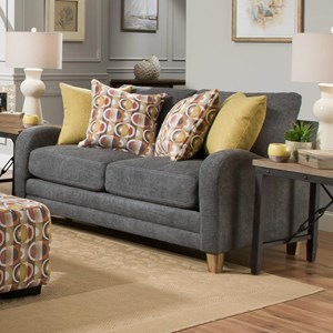 Contemporary Loveseat with Sloping Track Arms
