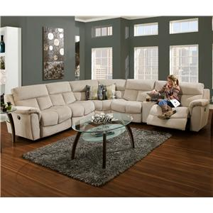 Sectional Sofa with Console and 5 Seats (4 that Recline)