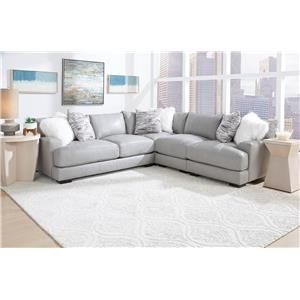 Grey Leather 3 Piece Sectional