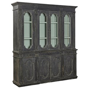 Squires Bookcase/China Cabinet with Distressed Black Finish