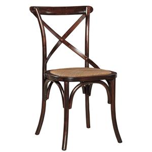 Brown Dining Side Chair with X-Back and Rattan Seat