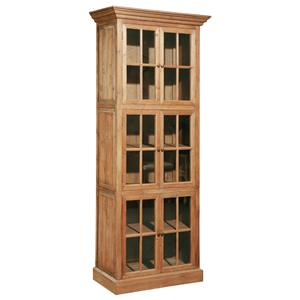 Solid Fir Single Stack Bookcase with Window Pane Glass Doors