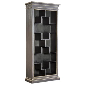 Valois Shelf in Distressed Charcoal Finish with Gold Highlights