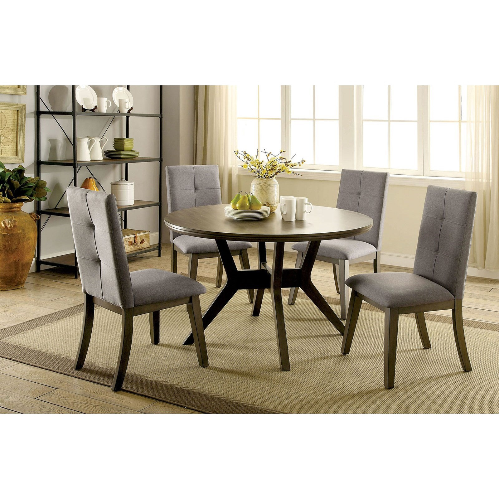Abelone Table + 4 Chairs by Furniture of America at Corner Furniture