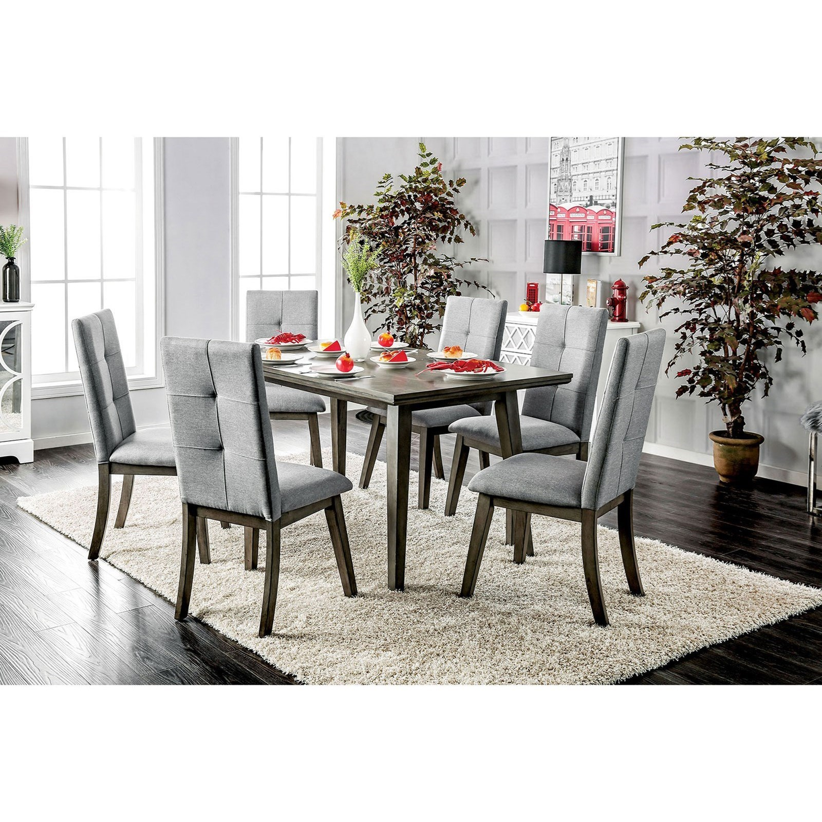 Abelone Table + 6 Chairs by Furniture of America at Dream Home Interiors