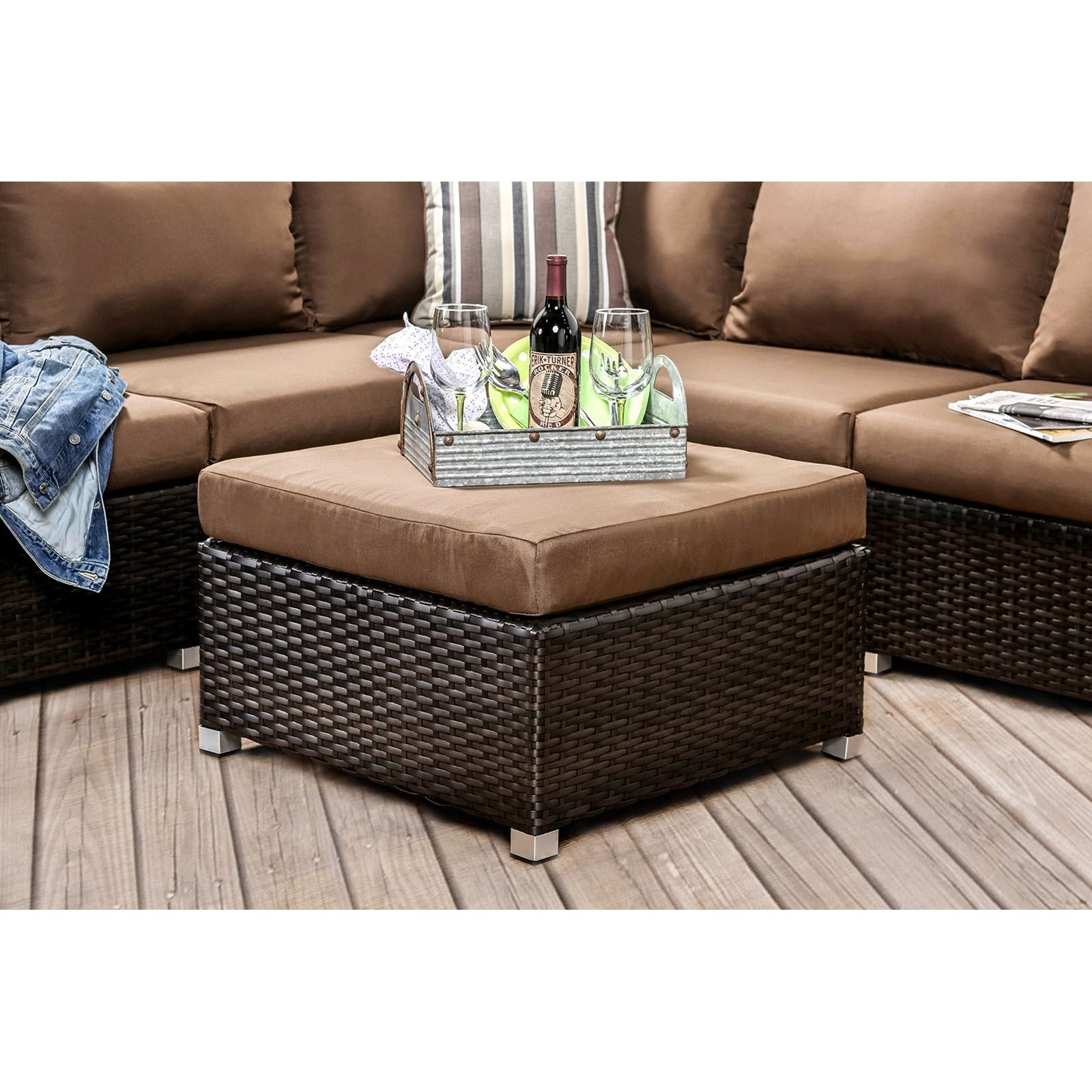 Abion Ottoman, Corner Chair by Furniture of America at Nassau Furniture and Mattress