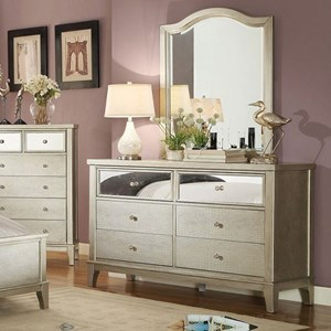 Glam Dresser and Mirror Set with Crystal-Like Drawer Knobs