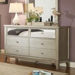 Glam Dresser with Crystal-Like Drawer Knobs