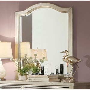 Glam Vertical Mirror with Curved Frame Top