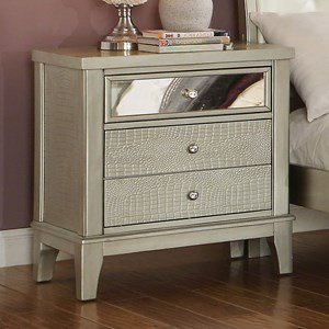 Glam Nightstand with Crystal-Like Drawer Knobs