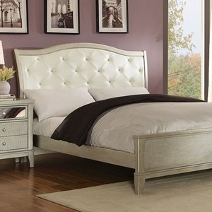 Glam Upholstered Queen Bed with Button Tufting