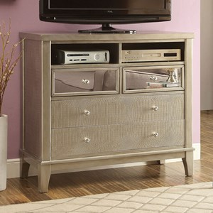 Glam Media Chest with Crystal-Like Drawer Knobs