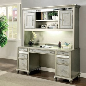 Glam Seven Drawer Desk and Hutch