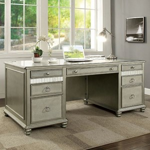 Glam Writing Desk with USB Ports and Outlets