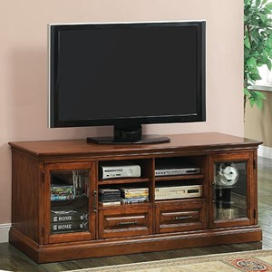 Transitional TV Console with 8 Shelves and 2 Drawers