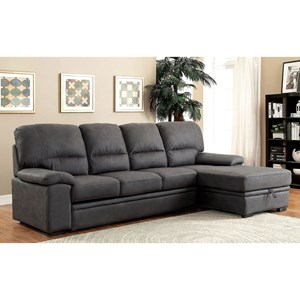 4 Seat Sectional Sofa with Sleeper and Hidden Storage