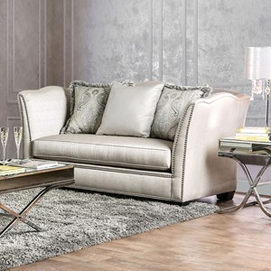 Transitional Camel Back Tuxedo Love Seat with Nailheads