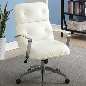 Contemporary Office Chair with Casters and Button Tufting