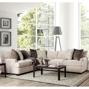 Contemporary Sectional Sofa with Flare Tapered Arms