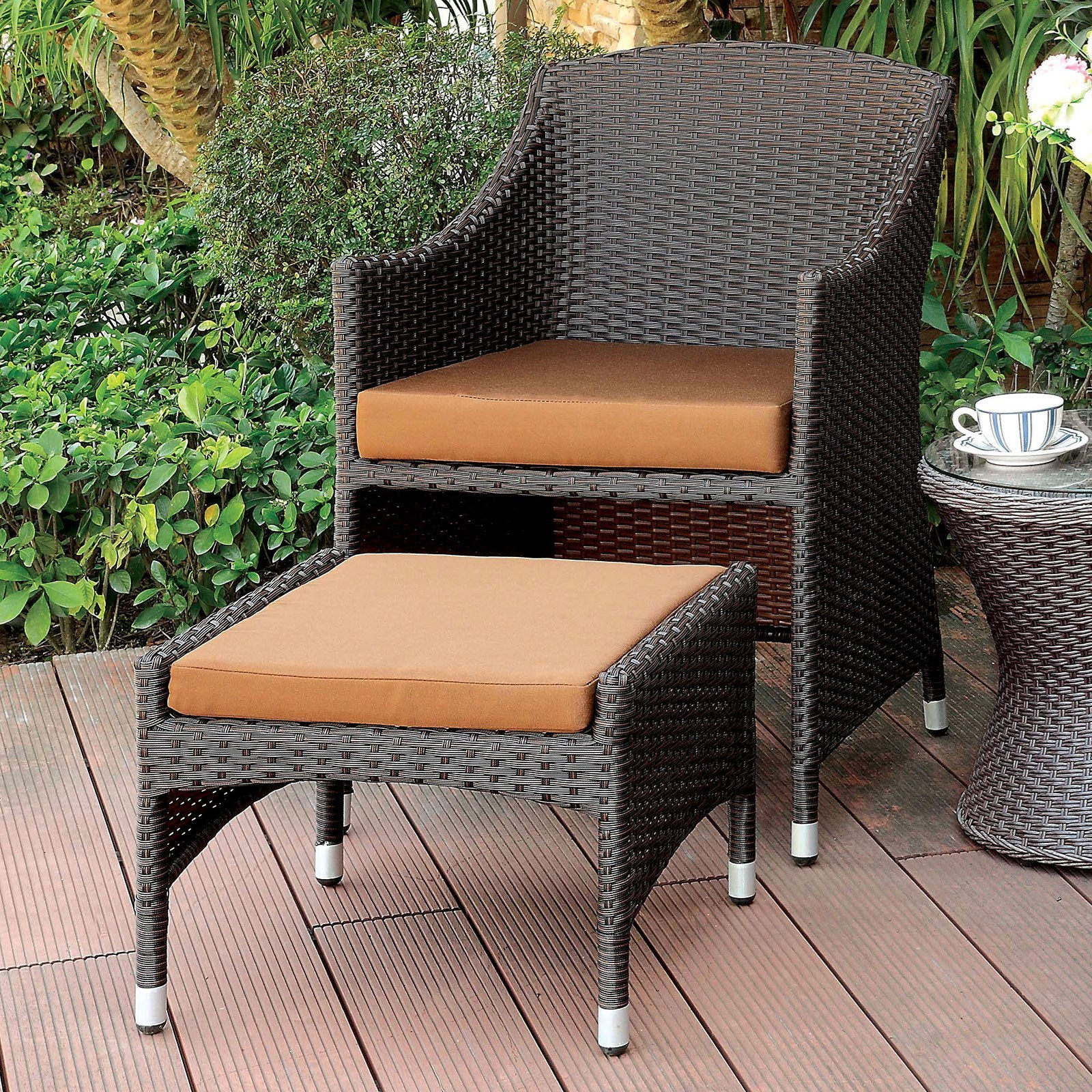 Almada Outdoor Arm Chair + Ottoman at Household Furniture
