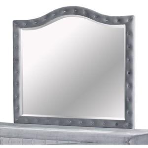 Transitional Dresser Mirror with Upholstered Frame