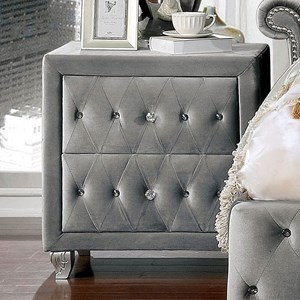 Transitional Upholstered Nightstand with Button Tufting